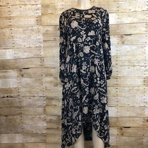Who What Wear Floral Asymmetrical Dress Large
